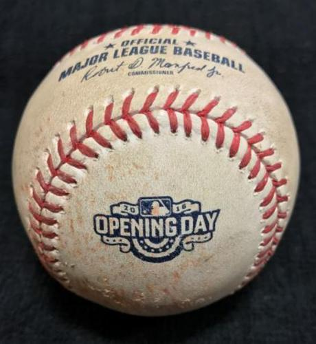 Photo of 2016 Opening Day Game-Used Baseball from Pirates vs. Cardinals - Wainwright to Freese, Single, 1st Hit of the 2016 MLB Season