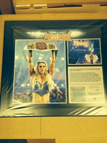 Photo of Charlotte SIGNED WrestleMania 32 15 x 17 Framed Ring Canvas Photo Collage
