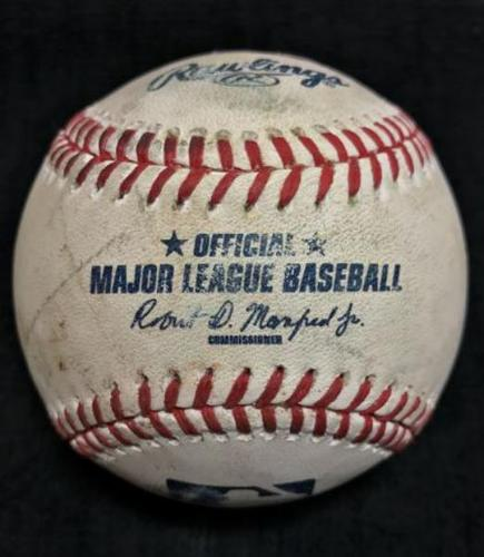 Photo of Game-Used Baseball from Pirates vs. Braves on 5/16/16 - Luebke to Freeman, Double