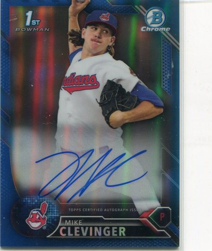 Photo of 2016 Bowman Chrome Prospect Autographs Blue Refractors #CPAMC Mike Clevinger