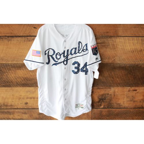 Photo of Game-Used Jersey: July 2, 2017 MIN at KC 4th of July, Travis Wood (Size 46)