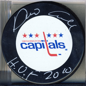 Dino Ciccarelli Washington Capitals Autographed Hockey Puck w/ HOF 2010 Note