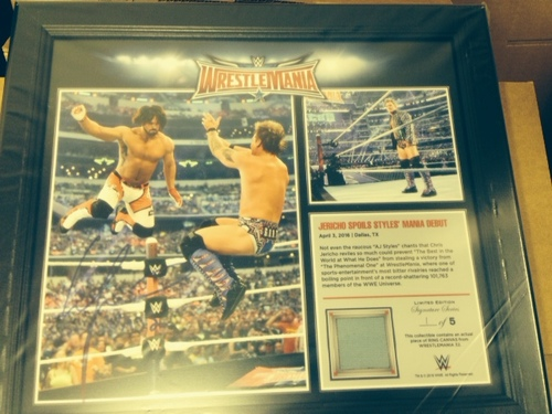 Photo of Chris Jericho SIGNED WrestleMania 32 15 x 17 Framed Ring Canvas Photo Collage