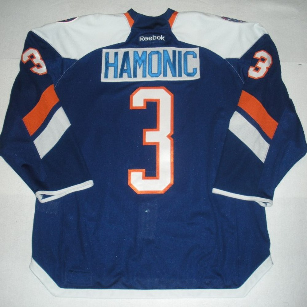 Travis Hamonic - 2014 Stadium Series - New York Islanders - Blue Game-Issued Jersey - First Period