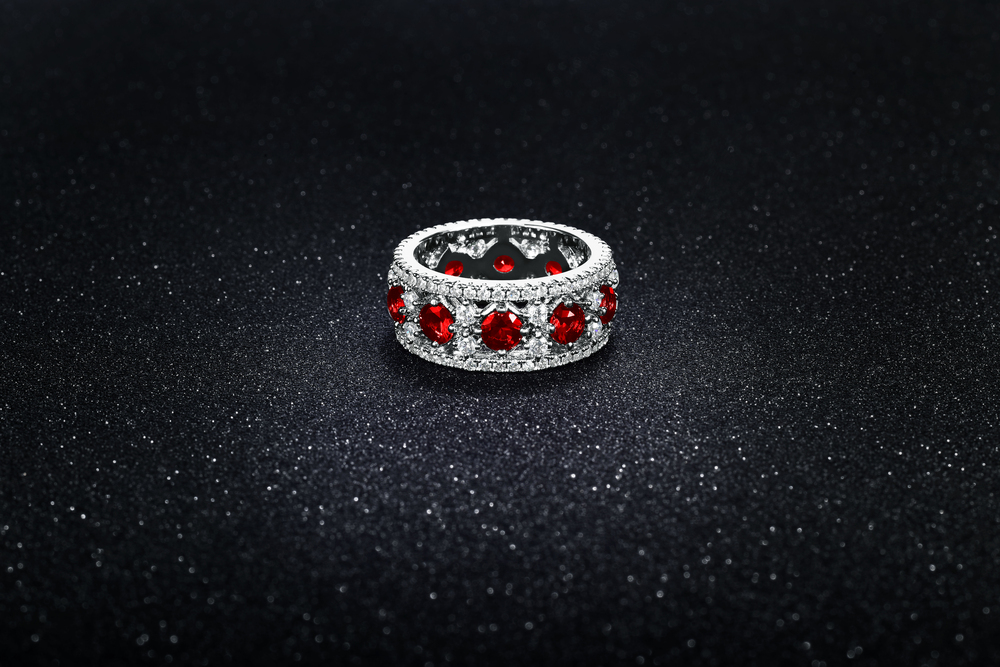 Yeidid International Model BRCZ7636RED 18kt White Gold Plated Eternity Band Adorned with Gems size 7
