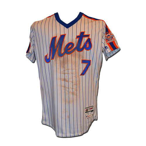 Photo of Jose Reyes #7 - Game Used 1986 Throwback Jersey - Mets vs. Nationals - 9/4/16