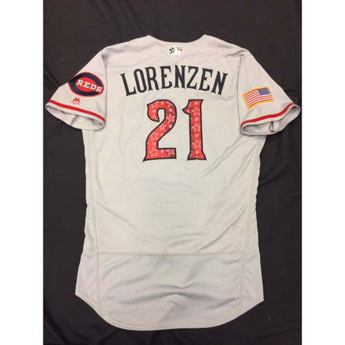 Photo of Michael Lorenzen -- Game-Used Stars & Stripes Road Jersey -- Reds @ Rockies on July 4, 2017