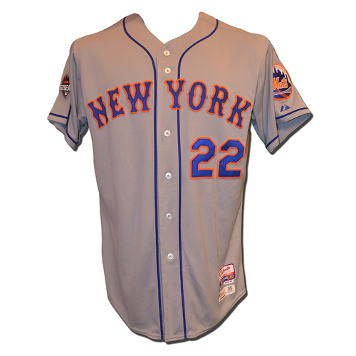 Photo of Kevin Plawecki #22 - 2015 NLDS Games 1,2, and 5 - 2015 NLCS Game 3 - Game Used Road Grey Jersey - 2015 Postseason
