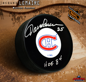 JACQUES LEMAIRE Signed Montreal Canadiens Original 6 Logo Puck - HOF