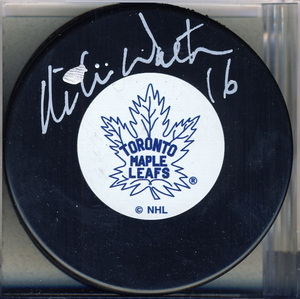 Mike Walton Toronto Maple Leafs Autographed Hockey Puck *Autograph Slightly Smudged*