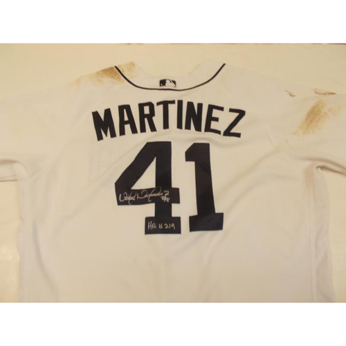 Photo of Autographed Game-Used Home Victor Martinez Jersey: 219th Home Run