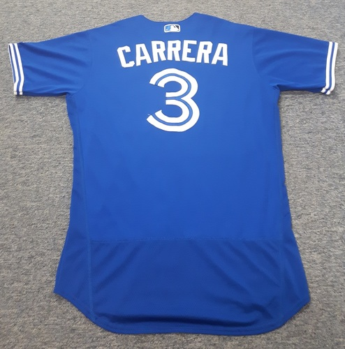 Authenticated Game Used Jersey - #3 Ezequiel Carrera (July 29, 2017: 0-for-4). Size 44.