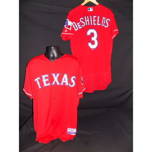 Photo of Delino DeShields Game-Used Red Jersey Worn 9/3/2017 vs LAA; 2-3; HR (4) - Size 40