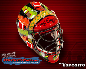 TONY ESPOSITO Signed Chicago Blackhawks Mini Mask