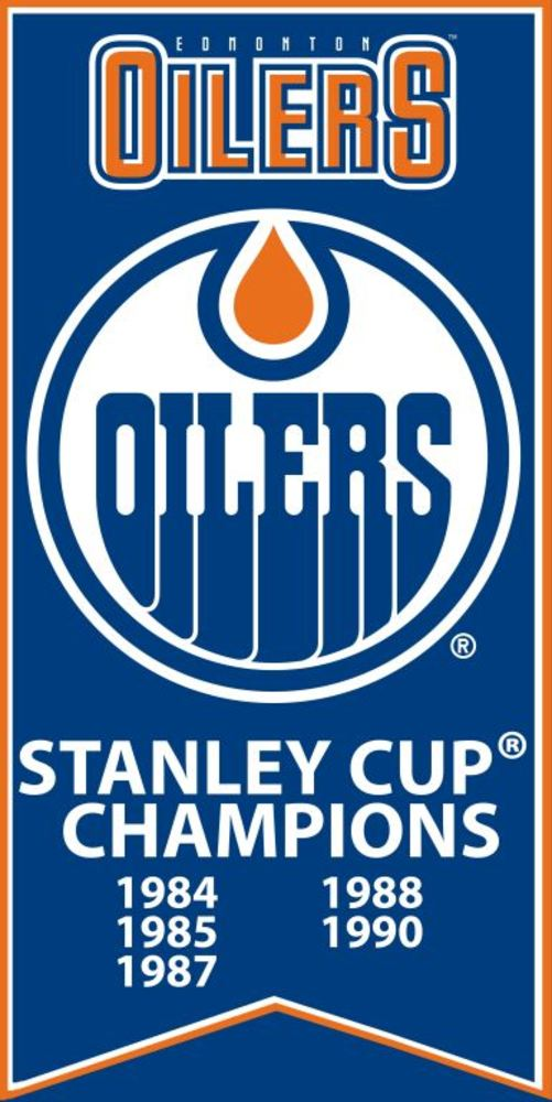 Edmonton Oilers Stanley Cup Banner Unsigned 7x15 Canvas with TEAM LOGO