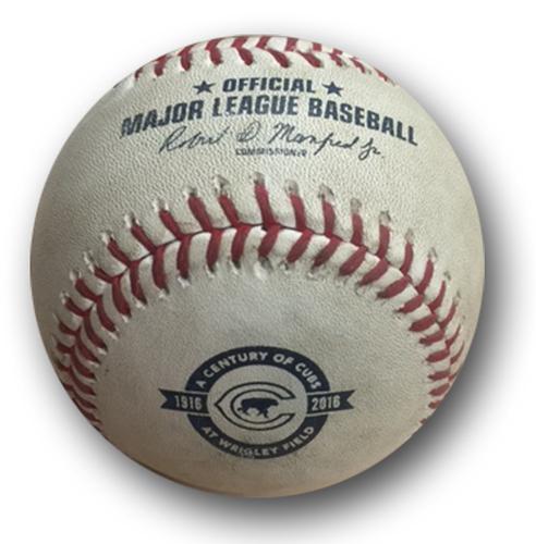 Photo of Game-Used Baseball -- Aroldis Chapman to Martin Maldonado, 102 MPH -- Chapman 26th Save of Season -- Brewers vs. Cubs -- Game 2 -- 8/16/16