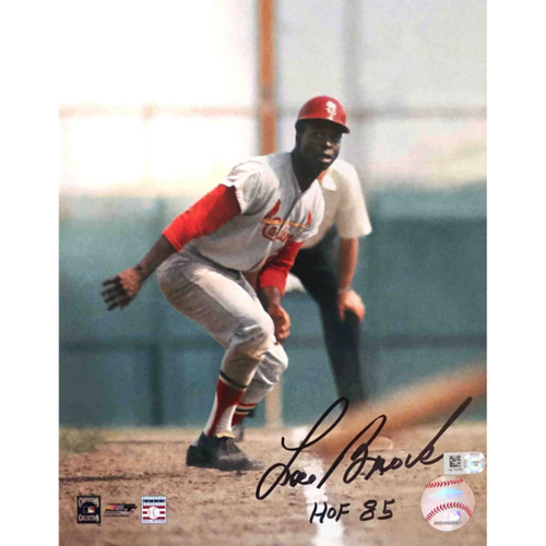 Cardinals Authentics: Lou Brock Autographed Photo