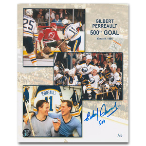Gilbert Perreault Autographed Limited-Edition 500th Career Goal Commemorative 8X10 Photo (Buffalo Sabres)