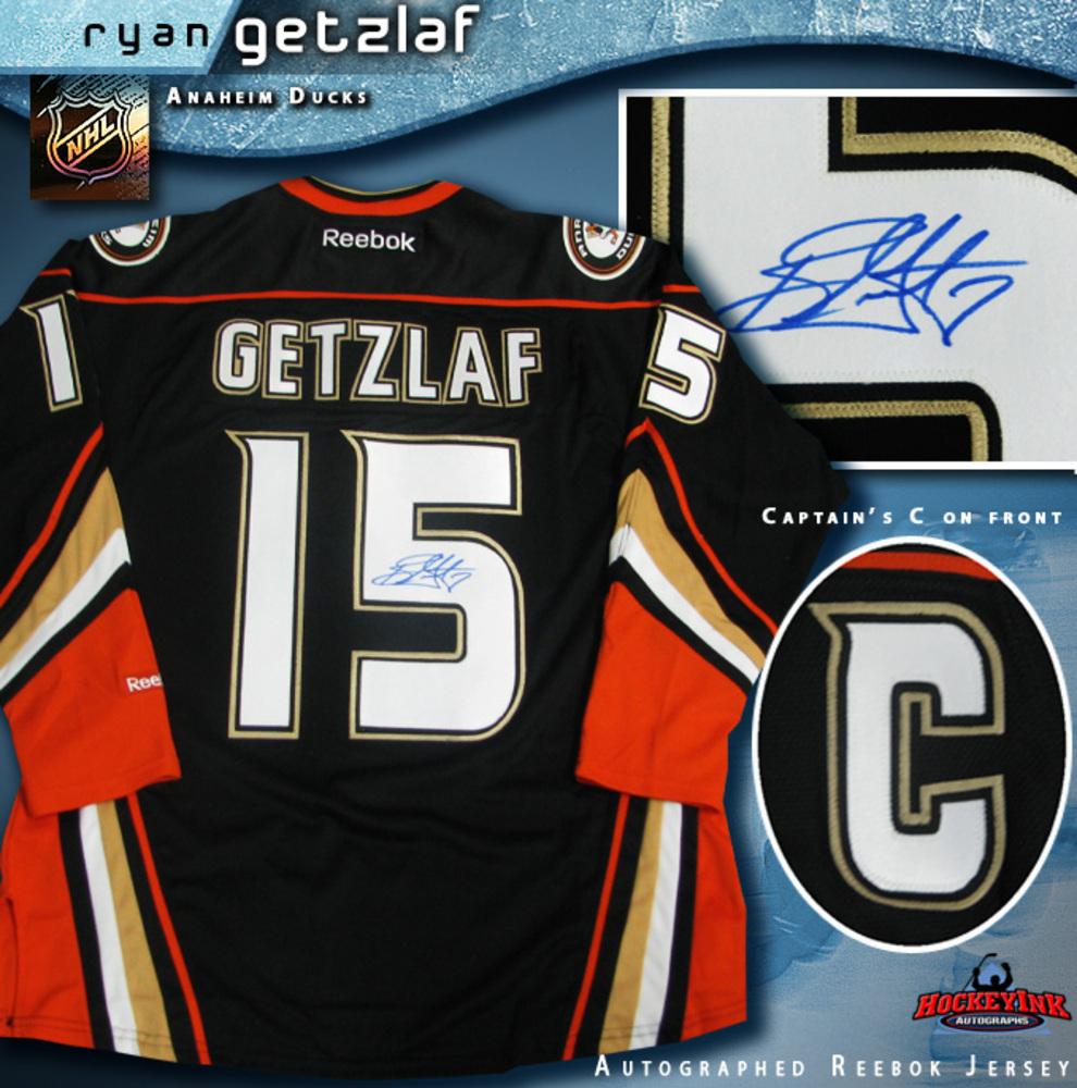 RYAN GETZLAF Signed Anaheim Ducks Reebok Black Third Jersey