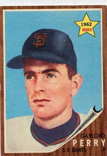 Photo of 1962 Topps #199 Gaylord Perry Rookie Card -- Giants Hall of Famer