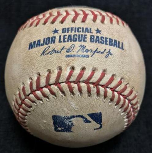 Photo of Game-Used Baseball from Pirates vs. Brewers on 9/3/16 - Nova to Nieuwenhuis, Strikeout on Pitch in the Dirt