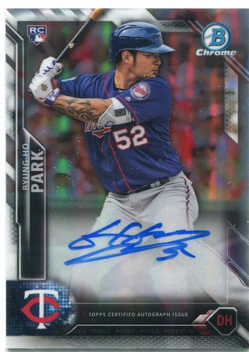 Photo of 2016 Bowman Chrome Rookie Autographs Refractors #BCARBP Byung-Ho Park