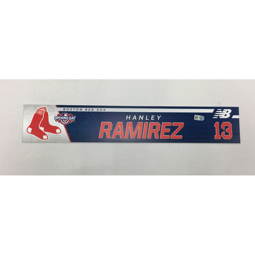 Photo of Hanley Ramirez Game-Used April 3, 2017 Opening Day Locker Tag