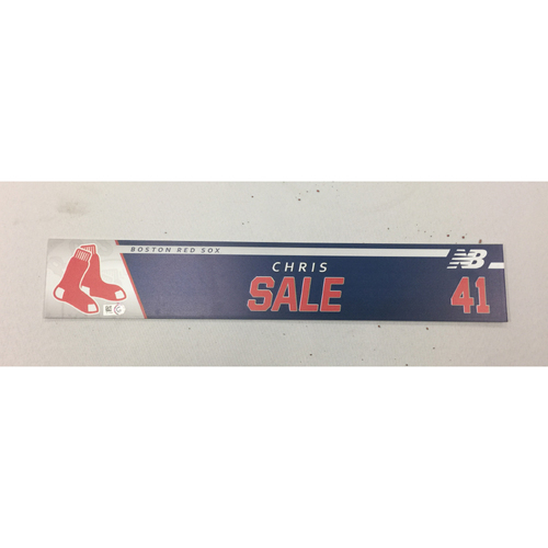 Photo of Chris Sale August 26, 2017 Game-Used Locker Tag