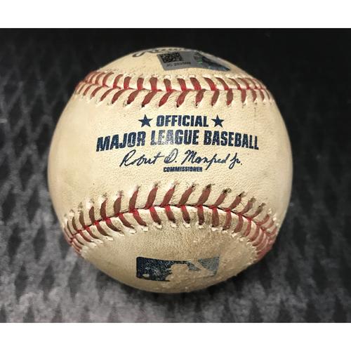 Photo of Game-Used Baseball - Carlos Santana vs. Zack Greinke - Foul