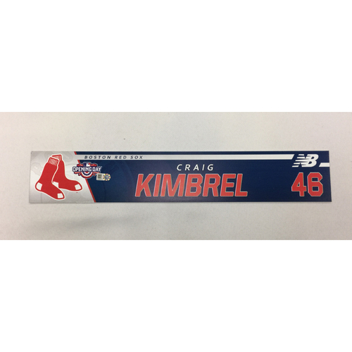 Photo of Craig Kimbrel Game-Used April 3, 2017 Opening Day Locker Tag