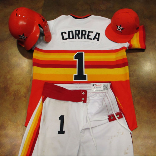 Photo of Carlos Correa Astros Game-Used Turn Back The Clock Uniform 6/24/17