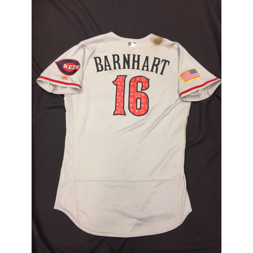 Photo of Tucker Barnhart -- Game-Used Stars & Stripes Road Jersey -- Reds @ Rockies on July 4, 2017