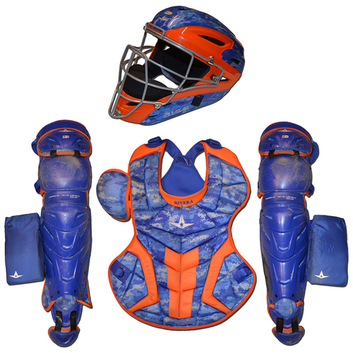 Photo of Rene Rivera #44 - Team Issued Catching Set - All Star - Blue Camo and Orange Model - 2017 Season