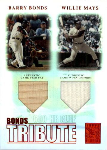 Photo of 2003 Topps Tribute Contemporary Bonds Tribute 600 HR Club Double Relics Red #BM Barry Bonds Bat/Will