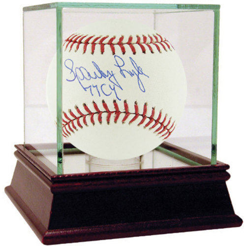 "Photo of Sparky Lyle Autographed MLB Baseball w/ ""77 AL Cy"" Insc. - Case Not Included"