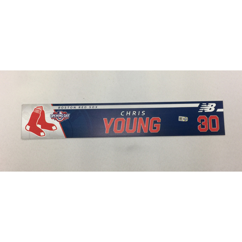 Photo of Chris Young Game-Used April 3, 2017 Opening Day Locker Tag