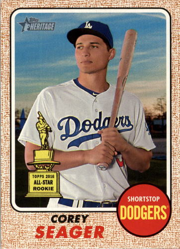 Photo of 2017 Topps Heritage #440A Corey Seager -- Dodgers post-season