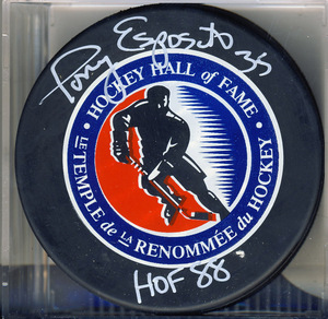 Tony Esposito Autographed Hockey Hall of Fame Puck w/ HOF 88 Inscription *Chicago Blackhawks*