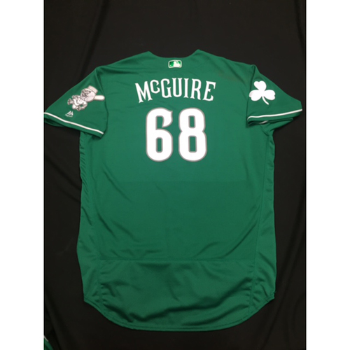 Photo of Deck McGuire -- Game-Used -- Irish Heritage Jersey -- Worn for Bronson Arroyo Farewell Game -- Red Sox vs. Reds -- 9/23/17