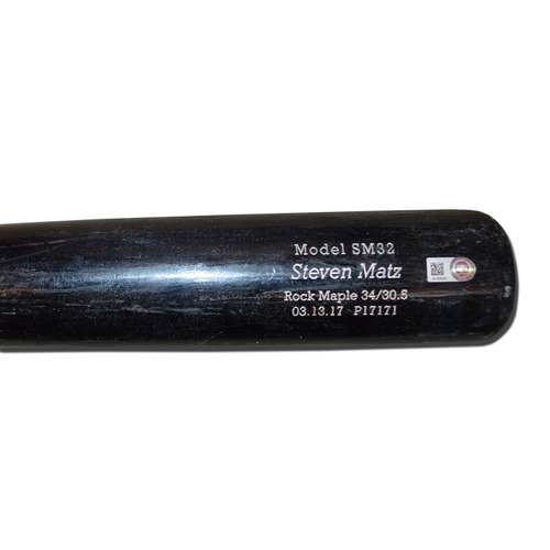 Photo of Steven Matz #32 - Team Issued Full Bat - DTB - Black Model - 2017 Season