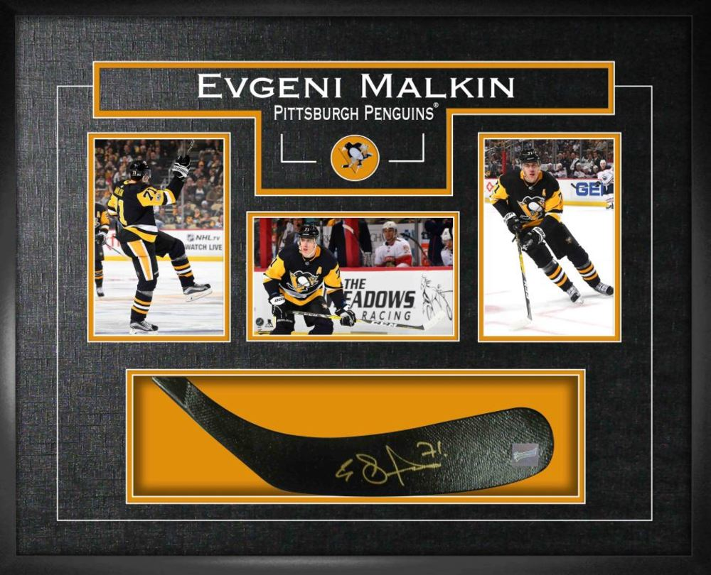 Evgeni Malkin - Signed Stickblade Penguins w/3-4x6 Photos