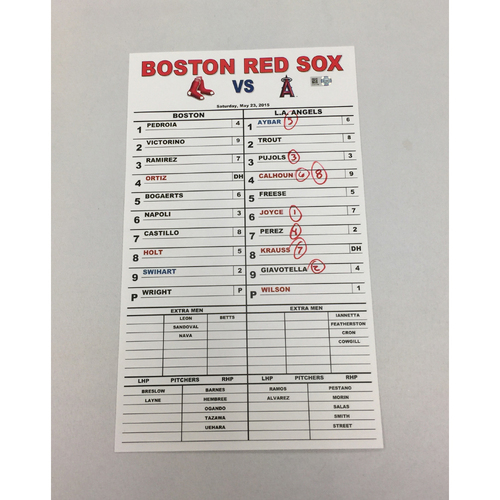 Photo of May 23, 2015 Angels at Red Sox Game-Used Bullpen Lineup Card