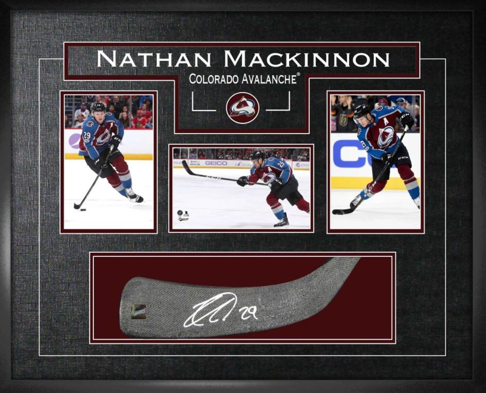 Nathan Mackinnon - Signed Stickblade Avalanche w/3-4x6 Photos