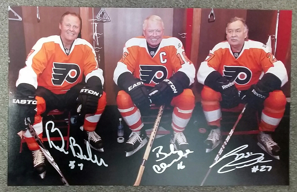Reggie Leach, Bill Barber & Bobby Clarke Philadelphia Flyers Multi-Signed 2012 Winter Classic Alumni Lockeroom 10X16 Photo