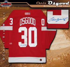 CHRIS OSGOOD Signed Detroit Red Wings CCM Red Jersey