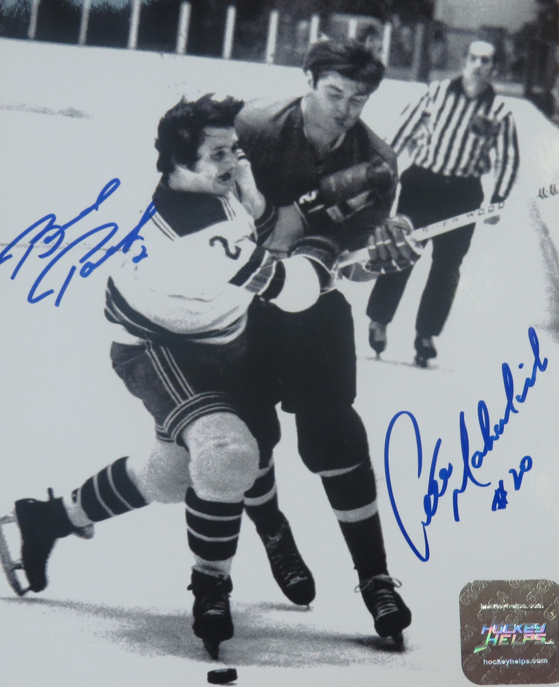 Brad Park & Pete Mahovlich autographed 8x10 Black and White Vintage Photograph