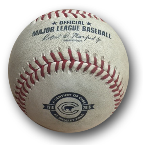 Photo of Game-Used Baseball -- Matt Garza to Addison Russell, Sac Fly Scoring Bryant from 3rd, Bot 1st -- Brewers vs. Cubs -- Game 1 -- 8/16/16