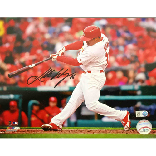 Cardinals Authentics: Kolten Wong Autographed Batting Photo