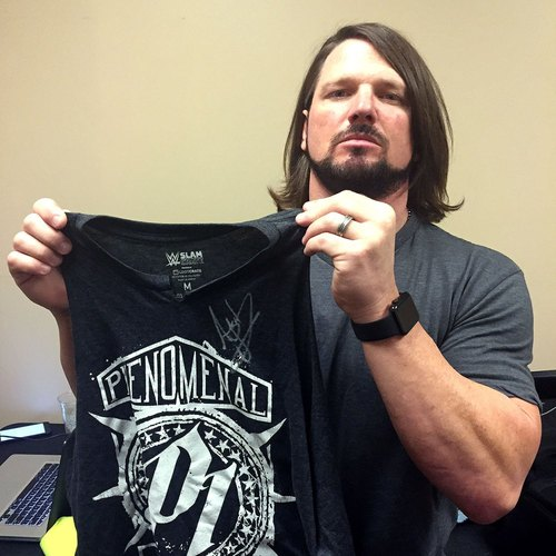 Photo of AJ Styles WORN & SIGNED T-Shirt (SmackDown - 11/15/16)