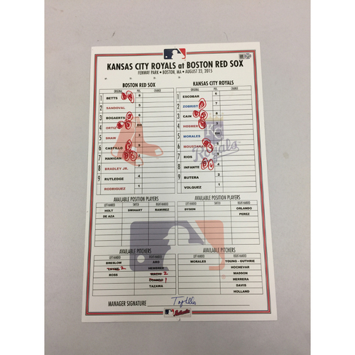 Photo of August 23, 2015 Royals at Red Sox Game-Used Lineup Card